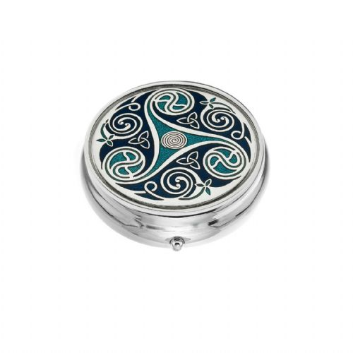 Large Pill Box Silver Plated Celtic Triskele Design Brand New & Boxed